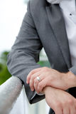 Groom in suit with wedding ring Stock Images