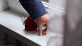 Groom takes the wedding rings and flower. Preparation for the celebration. Close-up. stock footage