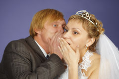 Groom tells bride amazing news Royalty Free Stock Photography