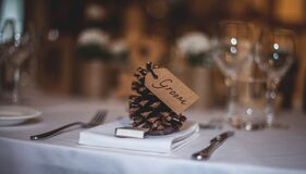 Groom Text on Table Royalty Free Stock Image