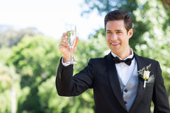 Groom toasting champagne flute in garden Stock Photo
