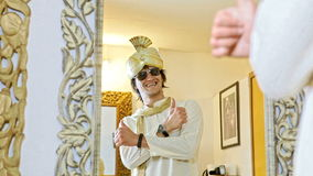 Groom in Turban and Sunglasses Smiles in Mirror stock video