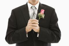 Groom in tuxedo. Stock Photos