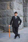 Groom with umbrella Royalty Free Stock Images