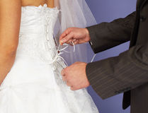 Groom unties corset to bride. The groom unties a corset to the bride Royalty Free Stock Photography