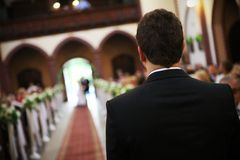 Groom waiting Stock Photography