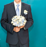 Groom waiting bride.Just married. Close up. Bridal Stock Photos