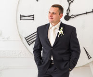 Groom waiting bride. Just married. Stock Photo