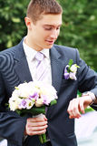 Groom waiting for bride Royalty Free Stock Photography