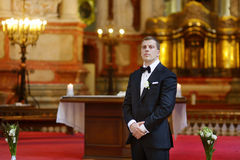 Groom waiting for the bride Royalty Free Stock Image