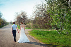 Groom walking with bride on the road Royalty Free Stock Images