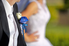 Groom with wedding blue rose buttonhole Stock Images