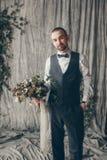 Groom. Wedding in European style, beautiful bride and groom in the Studio Stock Photo