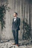 Groom. Wedding in European style, beautiful bride and groom in the Studio Royalty Free Stock Image