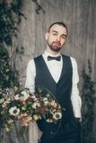 Groom. Wedding in European style, beautiful bride and groom in the Studio Royalty Free Stock Images