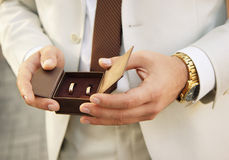 Groom with wedding rings Stock Images