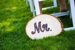 Groom Wedding Sign先生 免版税图库摄影
