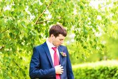 Groom in the wedding suit. Groom waiting his bride Stock Photo