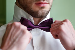 The groom in a white shirt fixing his bow tie Stock Images
