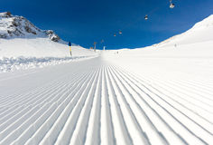 Groomed ski run at ski resort Stock Photography