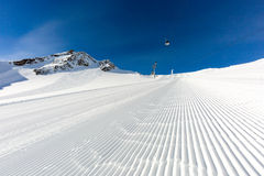 Groomed ski run at ski resort Stock Image
