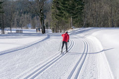 Groomed ski trails for cross country skiing Stock Photo
