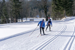 Groomed ski trails for cross country skiing Stock Photos