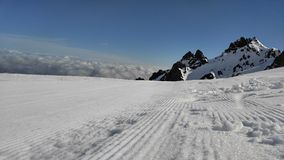 Groomed Snow Trails. Taken The top trails of the Whakapapa ski field in New Zealand Stock Photo