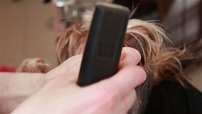 Groomeren bearbetar Yorkshiren Terrier spikar arkivfilmer