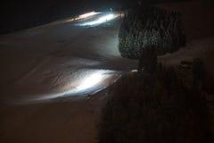 Groomers della neve alla notte Fotografia Stock Libera da Diritti