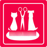 Grooming barbershop for pet. With dog, cat scissors and comb Stock Photos