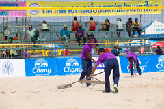 The grooming of Beach Volleyball. Thailand - April, 14: The grooming of Samila-Chang AVC Beach Volleyball Tour-Samila Open 15th. 14-18 April 2014. Samila beach stock images