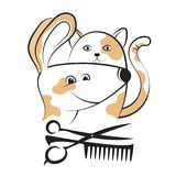 Grooming dogs and cats silhouettes. Grooming and caring for dogs and cats stock illustration