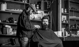 Grooming concept. Hipster with beard covered with cape serving by professional barber in stylish barbershop. Barber busy stock images