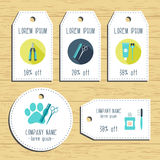 Grooming discount gift tags. Ready to use. Flat design. Vector Stock Photo
