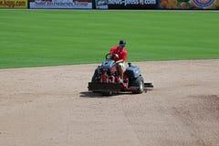 Grooming the Infield at Hammond Stadium Stock Photo