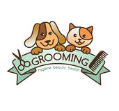 Grooming logo. Creative, rigorous logo Grooming pets Stock Photo