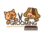 Grooming pets logo Stock Photo