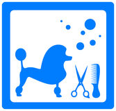 Grooming symbol with poodle, scissors and comb Stock Photography