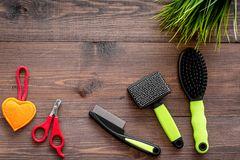 Grooming tools for training pet and brushes on wooden background top view mock-up Stock Photography