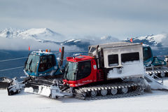 Grooming Tractor. Snowplow at the top of Vail ski resort, Colorado royalty free stock photo