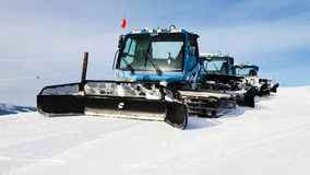 Grooming Tractor. Snowplow at the top of Vail ski resort, Colorado stock photo