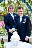 2 Grooms режа торт на их свадьбе Стоковое Изображение RF