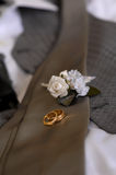 Grooms boutonniere & wedding rings Stock Image