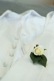 Grooms boutonniere & wedding rings. Grooms boutonniere & wedding rings resting on grooms tie Royalty Free Stock Image