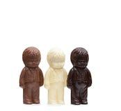 Grooms made of white, milk and dark chocolate Royalty Free Stock Photos