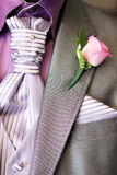 Grooms man wedding suit close-up. Grooms man formal suit in grey and purple with rose and tie pin Royalty Free Stock Photos