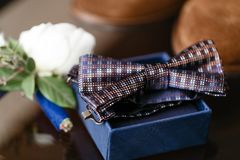 Grooms morning. Wedding accessories. Blue butterfly-tie, cufflinks and boutonniere. Grooms morning. Wedding accessories. Blue butterfly-tie. Preparation for the Stock Photo