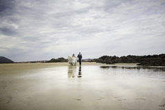 Grooms running sea. Marriage bridal dresses beach couple in love Royalty Free Stock Image