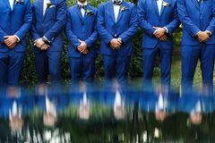 The groomsman in blue suits stand in a row.  stock images